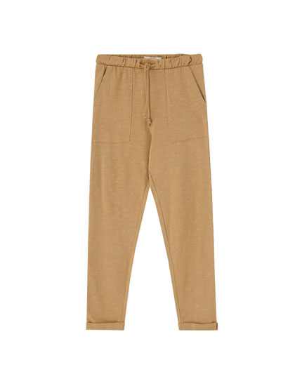 Basic drawstring trousers