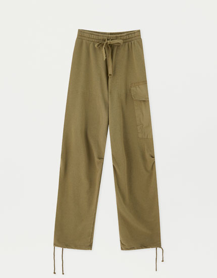 Khaki cargo trousers with elastic waistband