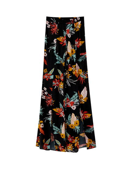 Floral flared trousers