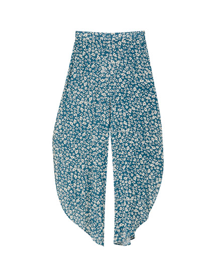 Flowing floral trousers with vents