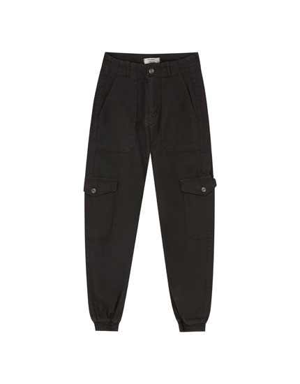 Cargo trousers with elastic cuffs