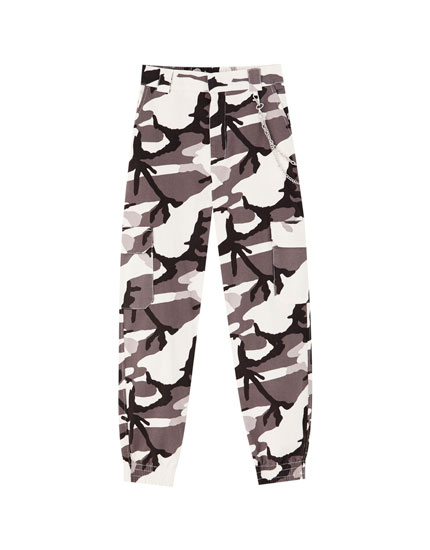 Black camouflage cargo trousers