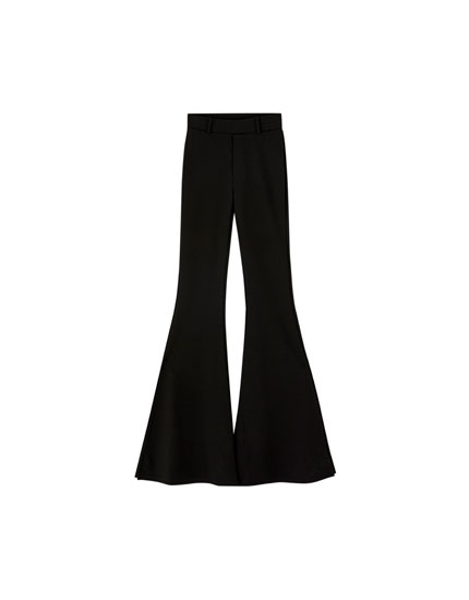 Bell bottom trousers with side slits