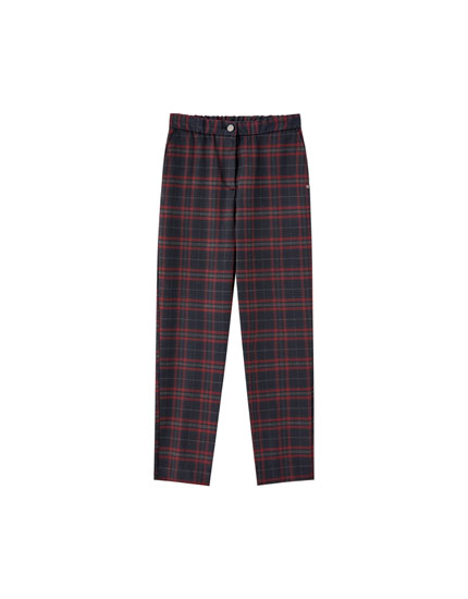 Maroon check trousers