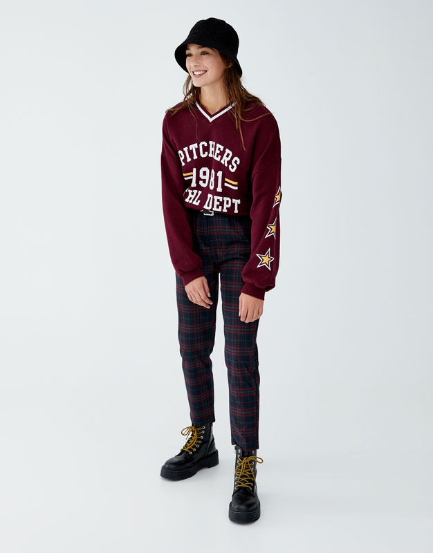 Maroon Check Trousers by Pull & Bear