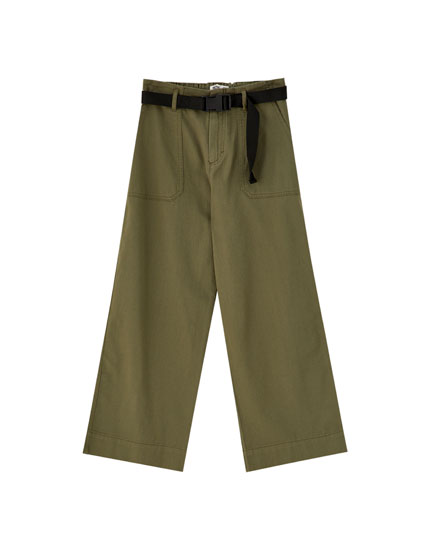 Utility culottes with belt
