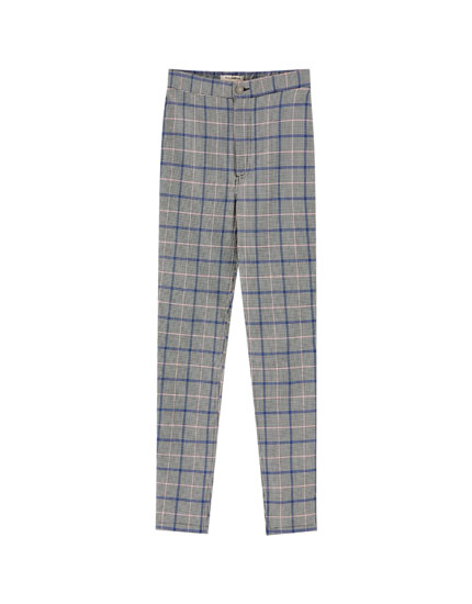 Pink check skinny fit trousers