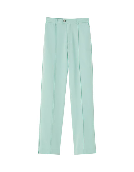 Mint green tailored trousers