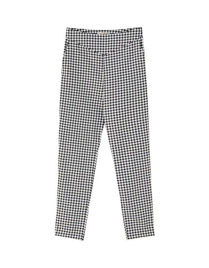 Gingham high waist trousers