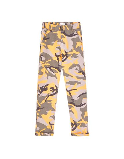 Orange camouflage trousers
