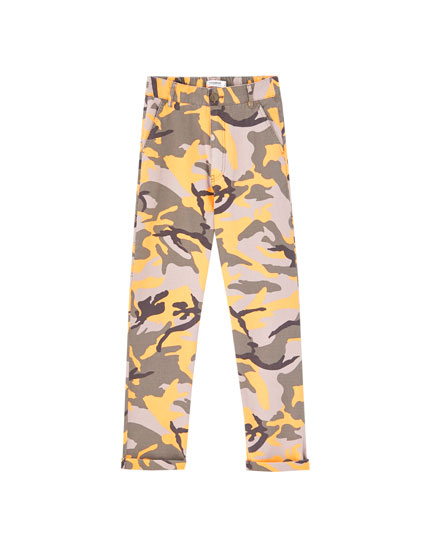 Orange camouflage trousers
