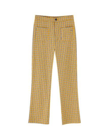 Pantalon évasé à carreaux