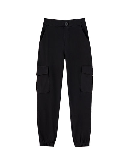 Coloured cargo trousers with elastic cuffs