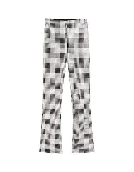 Flared jacquard trousers