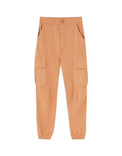 Cargo trousers with elastic hems