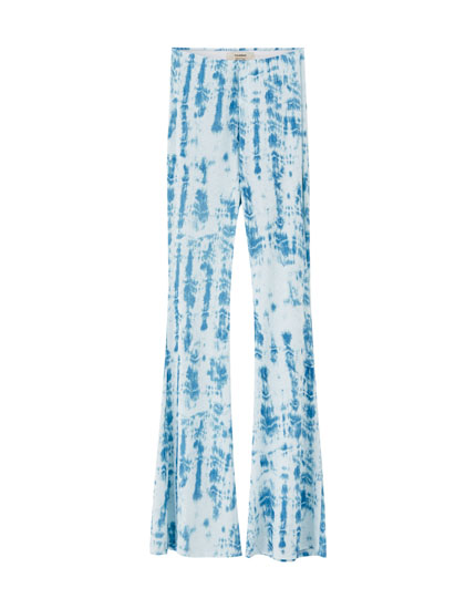 Ribbed tie-dye flared trousers
