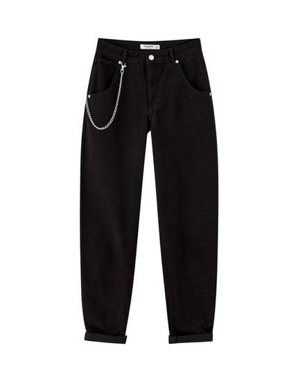 Jeans bombachos cadena