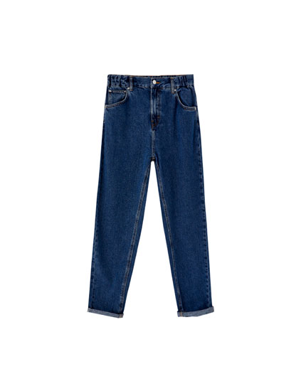 Jeans mom fit cintura elástica