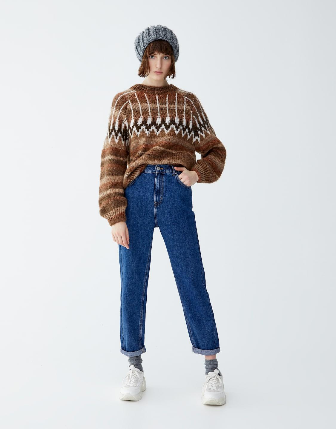 2df4f47f78 Jeans mom fit cintura elástica - PULL BEAR