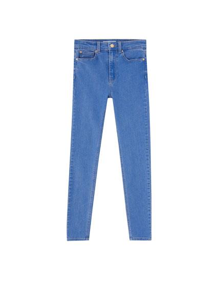 Basic-Jeans im Skinny-Fit mit hohem Bund