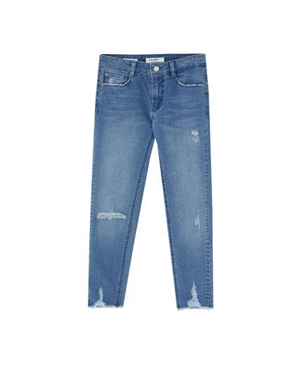 Skinny fit capri-jeans met halfhoge taille
