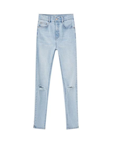 Jeans skinny fit capri tiro alto