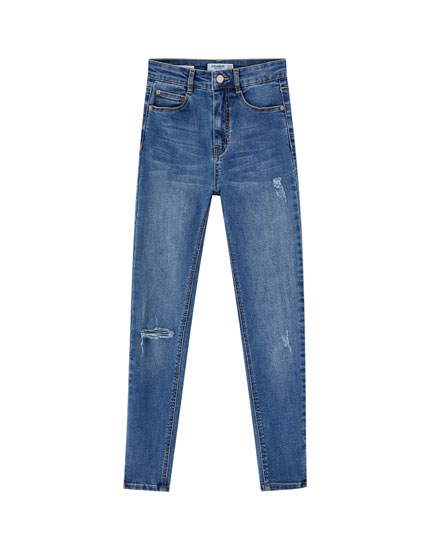Jean skinny capri taille haute