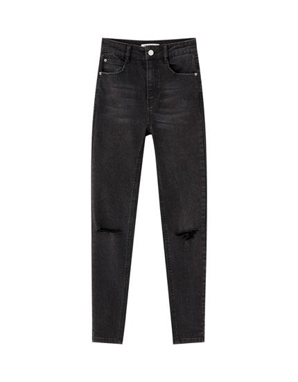 Capri-Jeans im Skinny-Fit mit hohem Bund