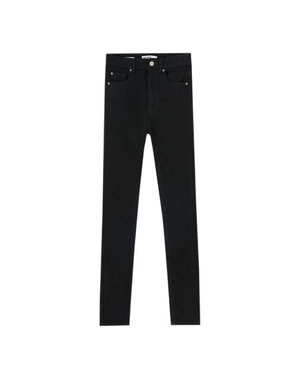 Basic Skinny-Jeans mit hohem Bund
