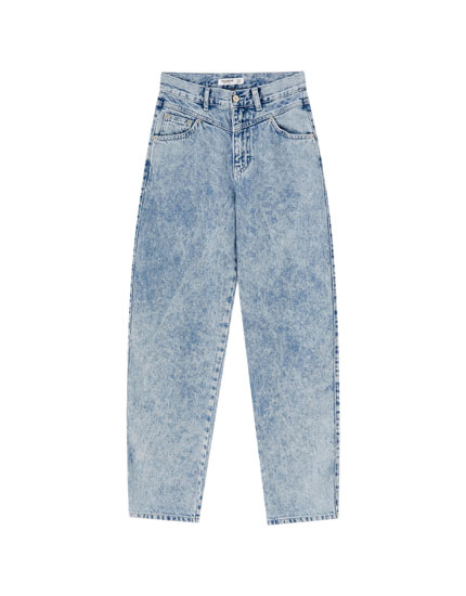 Gaucho jeans with yoke and pockets
