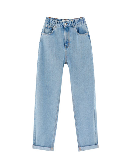 Mom jeans with elastic waistband