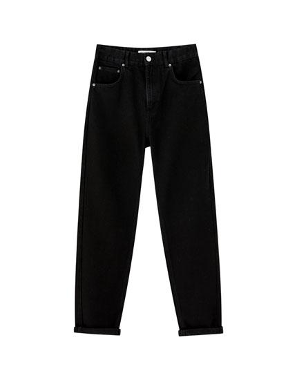 Mom-Jeans mit Gummizug im Bund