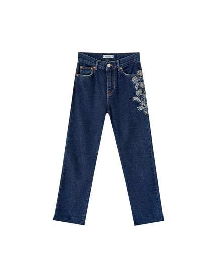 Straight leg jeans with floral embroidery