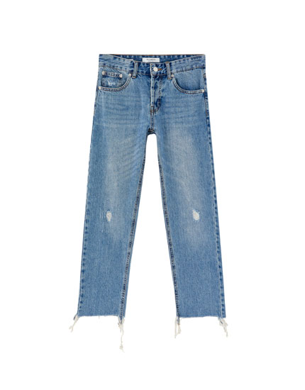 Ripped straight leg jeans with patches