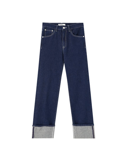 Jeans taille haute coutures apparentes