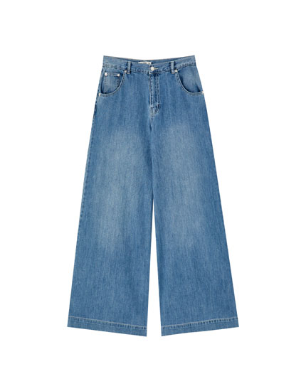 Wide-leg jeans with darts
