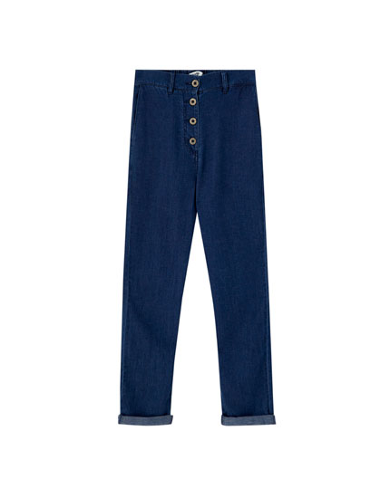High-rise jeans with front buttons