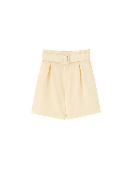 Yellow Bermudas with belt