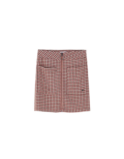 Zip-down check mini skirt