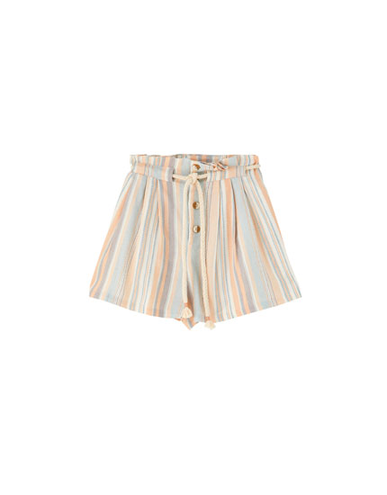 Rustic striped Bermuda shorts