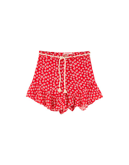 Drawstring Bermudas with mini flower print