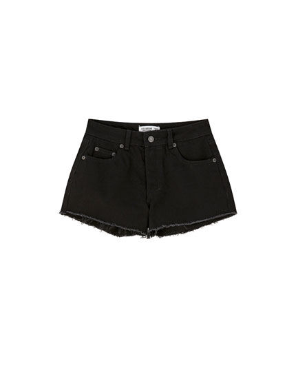 Mid-waist denim shorts
