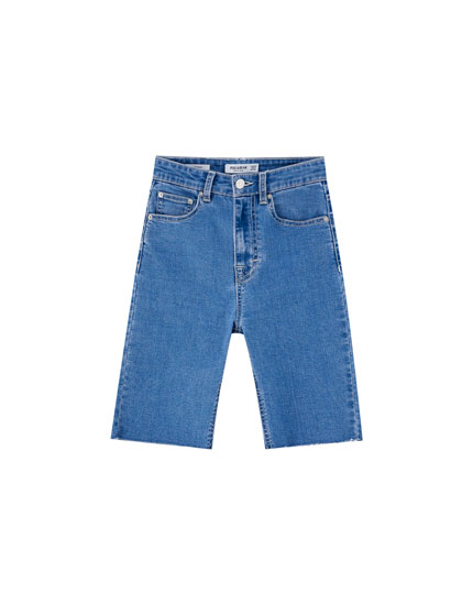 High waist denim Bermudas