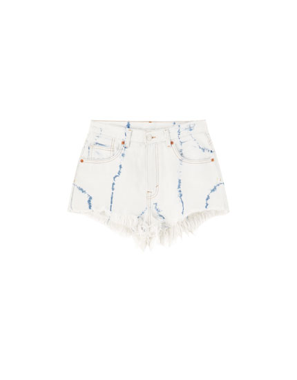 Tie-dye denim shorts