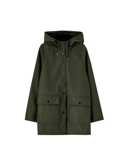 Plain raincoat with patch pockets