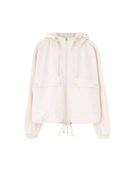 Short coloured raincoat