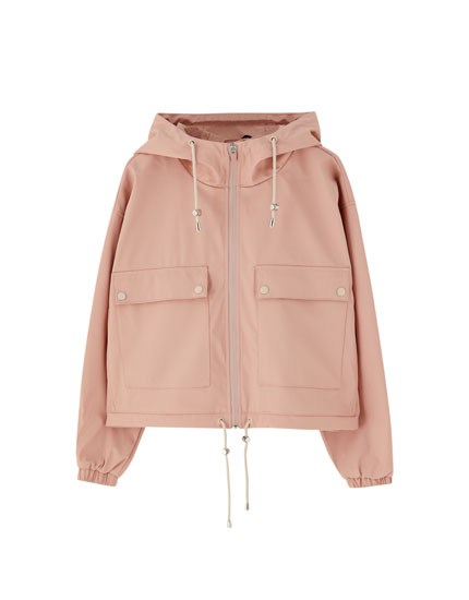 Short coloured raincoat