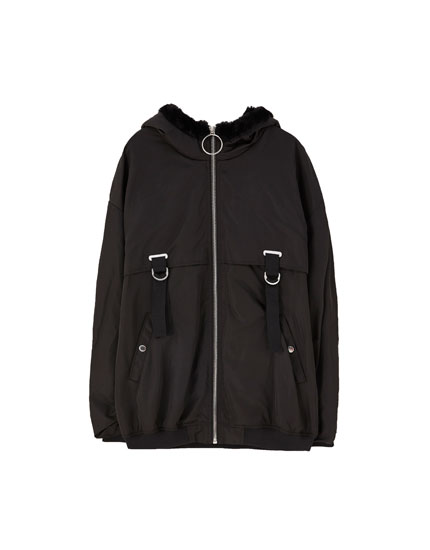 Oversize hooded bomber jacket