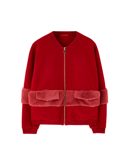 Bomber with faux fur stripe