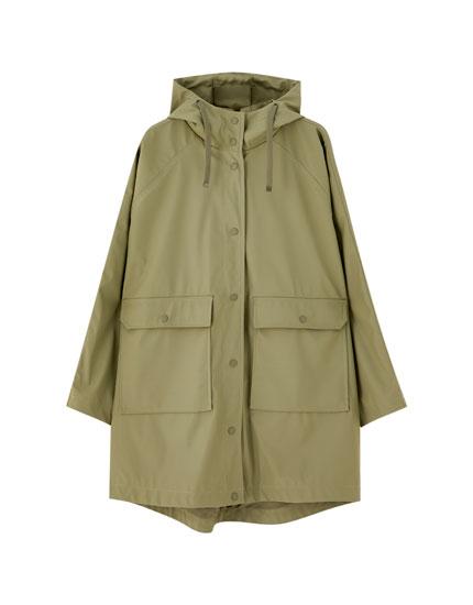 Oversized khaki raincoat